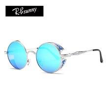 Gothic Round Metal Sunglasses Steampunk Men Women Fashion Coating Mirrored Glasses Brand Designer Retro Vintage goggles UV400