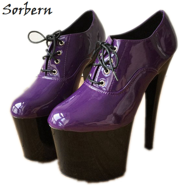 dda22699dde14 Sorbern Purple Women Pumps Lace Up Goth Shoes For Women Ultra High Heels  Online Fancy Unique Heels Custom Color Big Size 8