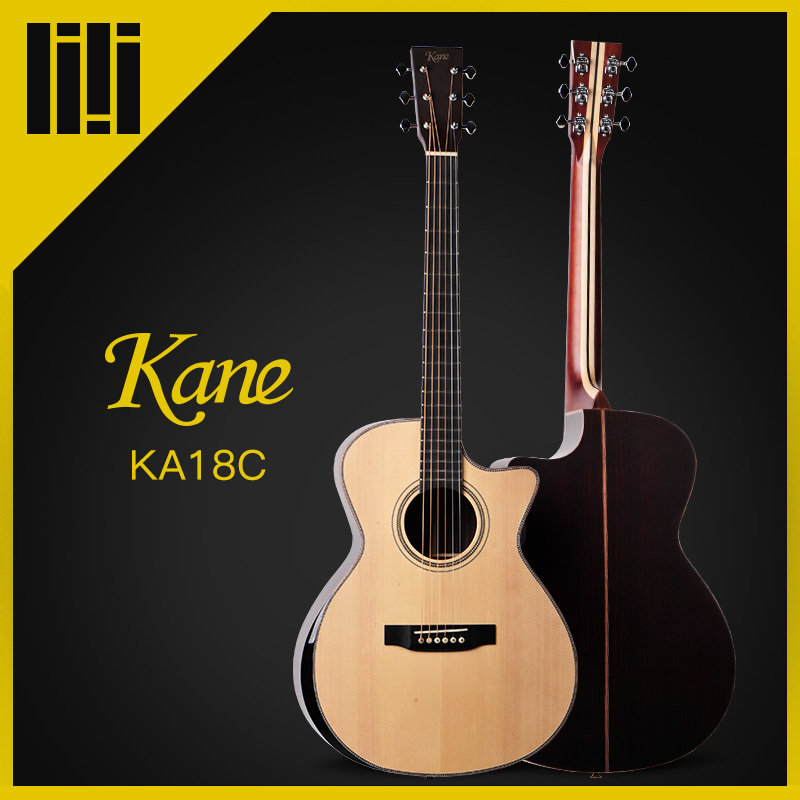 Kane Brand Guitar <font><b>Acoustic</b></font> Guitar Cutaway & Rounded Corner Guitar All Solid Wood China 36/40/41 Inches K-18