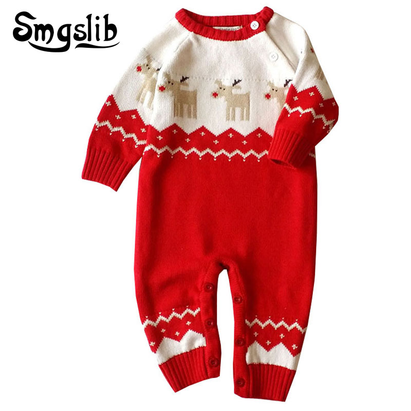 6-24M cute baby girl winter clothes sweater with deer Long Sleeve Jumpsuit Playsuit Outfits christmas Newborn Overalls onesie