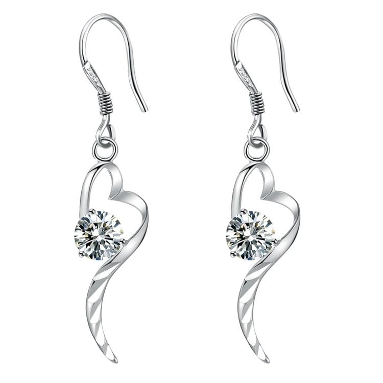 265b552e3c640 Coração do amor que bling zircão Brincos de Prata para as mulheres de alta  qualidade frete grátis moda jóias brincos AVBVYGOY GMFASXTC