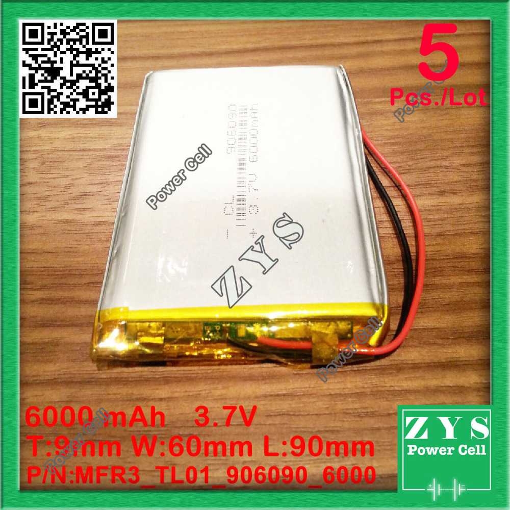 5pcs/Lot li-ion battery 6000 mah 3.7V 906090 smart home MP3 speakers Li-ion battery for dvr,GPS,mp3,mp4,cell phone,speak,6000mah polymer battery 1000 mah 3 7 v 504045 smart home mp3 speakers li ion battery for dvr gps mp3 mp4 cell phone speaker