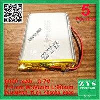 5pcs/Lot li ion battery 6000 mah 3.7V 906090 smart home MP3 speakers Li ion battery for dvr,GPS,mp3,mp4,cell phone,speak,6000mah