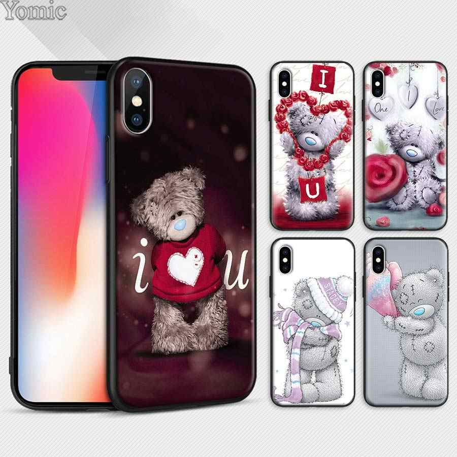 Tatty Teddy Ik Je Beer Zwart Siliconen Case voor Apple iPhone 7 8 Plus X XR XS MAX 6 6 s Plus 5 S SE Soft Phone Case Coque