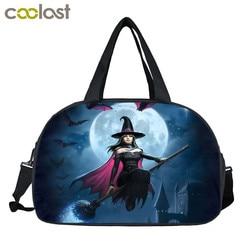 Fantasia strega/black cat/fata stampa borse da viaggio multifunzionale sacchetto di immagazzinaggio borsa delle donne casuali totes di viaggio duffle bag