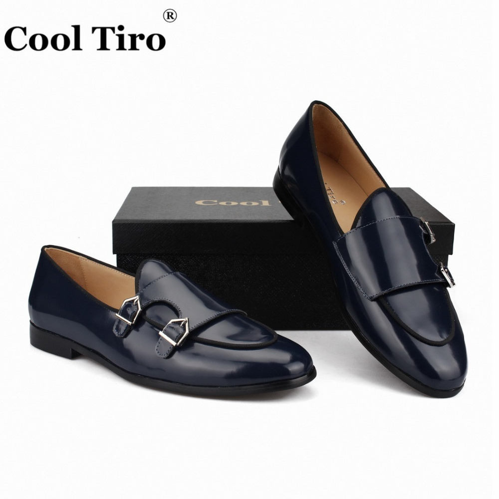 POLISHED LEATHER DOUBLE-MONK LOAFERS Dark blue (7)