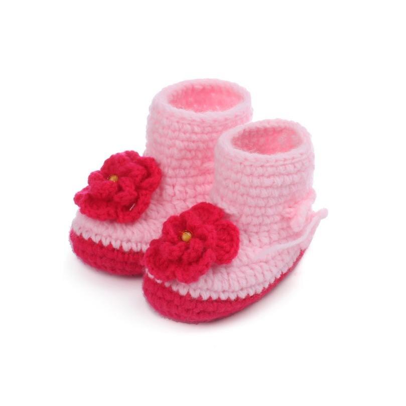 LONSANT First Walker Baby Girls Crochet Handmade Knit High-top Tall Boots Shoes Winter Children Shoes Dropshipping Wholesale
