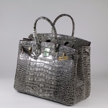 35cm Genuine Leather Women Bag\Handbag Fashion Classic Crocodile Pattern ladies