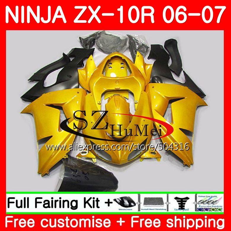 кузов для Kawasaki Ninja Zx10r 06 07 Zx1000c золотой черный 16sh13