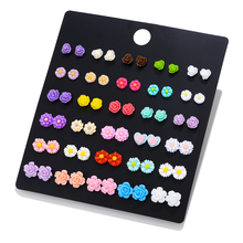 LUXSHINE 30 Pairs/lot Resin Flower & unicorn flamingo Stud Earring Set for Women Monstera leaf cute Korean earrings Jewelry