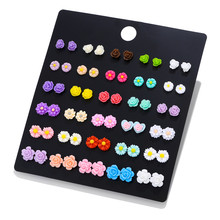 LUXSHINE 30 Pairs/lot Resin Flower & unicorn flamingo Stud Earring Set for Women Monstera leaf cute Korean earrings Jewelry(China)