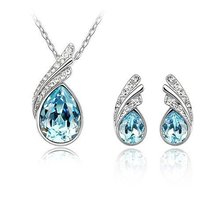 holiday sale New Arrival 2 colors White gold plated Plated Austrian Crystal Jewelry Sets New style free shipping