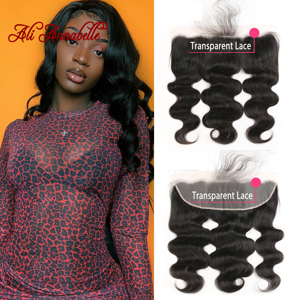 13 4 Transparent Lace frontal Pre plucked Baby Hair Brazilian Body Wave Human Hair Frontal Closure