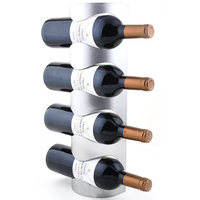Stainless Steel 3 Or 4 Bottle Wall Mounted Wine Rack Simple Style Living Wall Wine Bottle