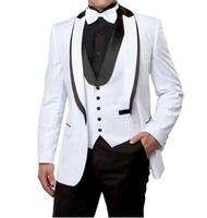 Custom new blue men suits 3 piece groom's best man wedding dress banquet business formal suit slim fit windbreaker leisure time