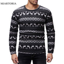 MJARTORIA Casual Christmas Men's T-Shirt O Neck Long Sleeve T-Shirt Male Patchwork Autumn Top Elk Printed camiseta masculina