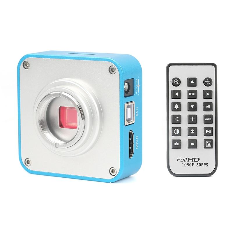 16MP Full HD 1080P 60FPS HDMI USB HD Digital Industrial C-Mount Video Microscope Camera Remote Control Mobile Phone CPU Repair