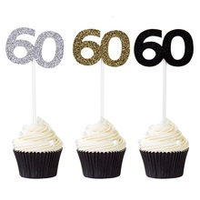 12pcs Sixty Birthday Decorations 60th Paper Cupcake Topper Number 60 Anniversary Party Decor Free Shipping