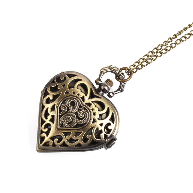 Bronze Watch Women Clock Retro Fashion Christmas Hollow Out Gift Heart Pocket Necklace Watch Famous Temperament Hot Selling C5 men s clock time round hollow batman dark gray steampunk quartz pocket watch with necklace chain gift for unisex