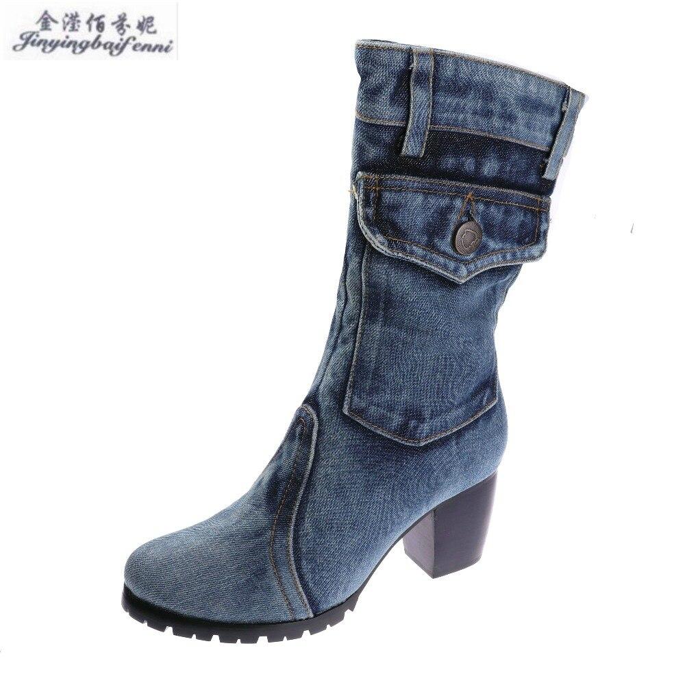 Blue Denim Women s Winter Boots New Canvas High heeled Shoes Non slip Crude Boots Heels