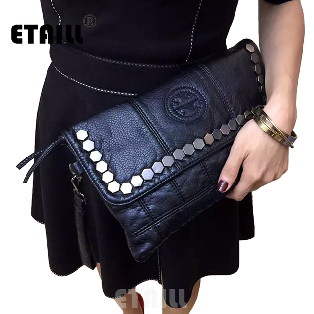 2017 Rock Stud Envelope Clutch Luxury Women Leather Designer Rivet Evening Brand Luxury Hand Bag Studded Small Cross Body Bag