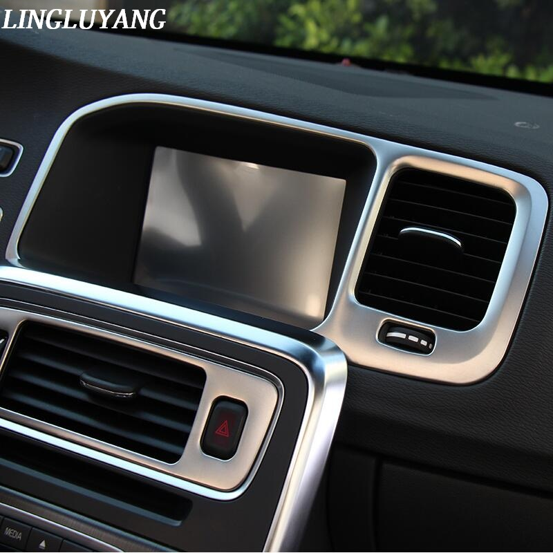 Console navigation frame decoration cover trim Stainless steel strip interior molding sequins 3D sticker for Volvo S60 V60