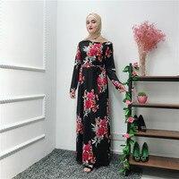 2019 Women Muslim Abaya Dress Printed Flower Long Sleeve Black Dress Caftan Marocain UAE Kaftan Islamic Arabic Thobe