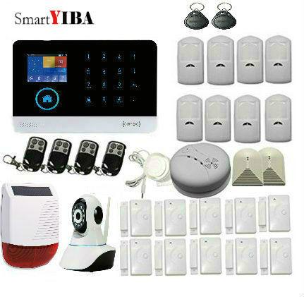 SmartYIBA WIFI GSM Maison Système D'alarme de Sécurité Anti-vol Solaire Alimenté Sirène Verre Capteurs Break Kits Feu/Fumée alarme