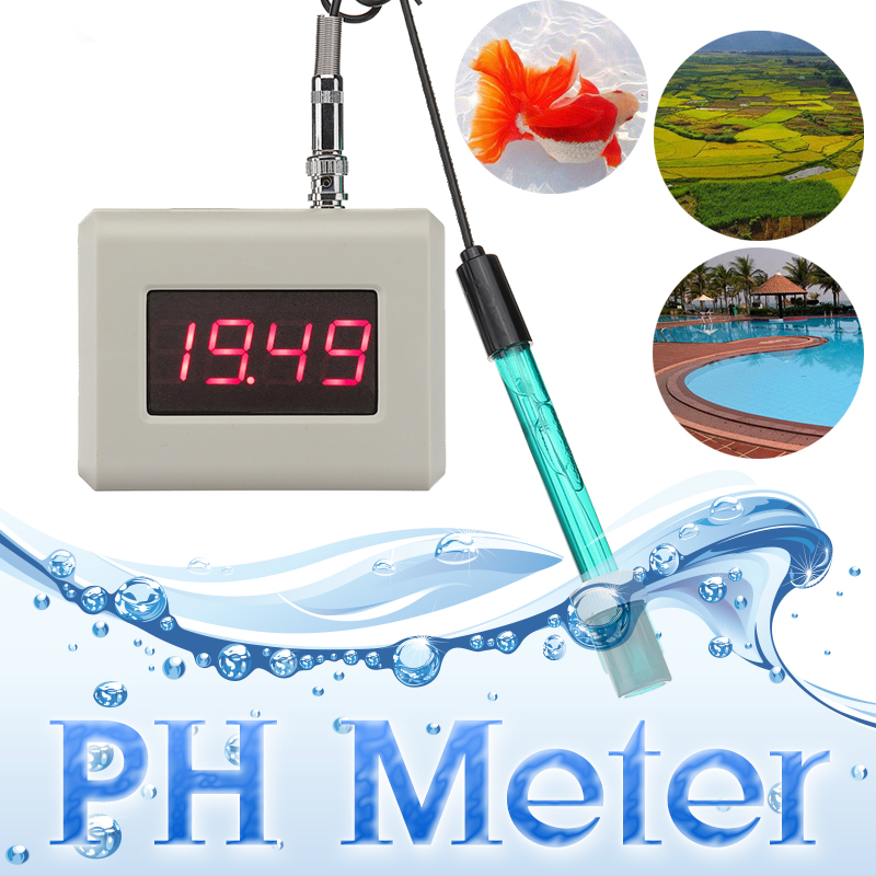 PH Meter Controller PH Online Monitor Pen Type Tester Aquarium Control Pool Water LED Display Calibration Solution