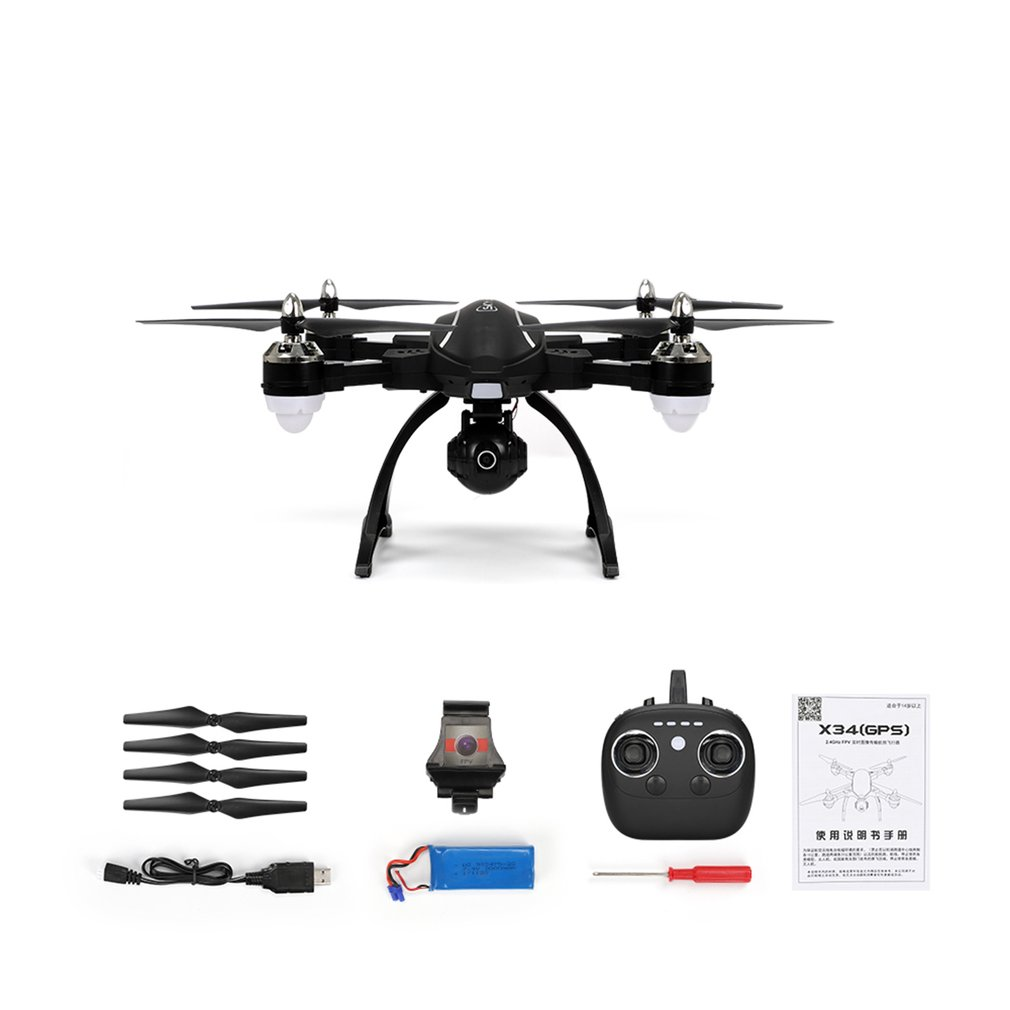 RC Drone X34C Dual Mode 5.8G FPV RC Drone With 720P HD Camera GPS Altitude One Key Return Headless Mode RC Quadcopter Drone 360 flip wifi fpv drone with 2mp hd 720p camera f23g 2 4g rc quadcopter headless mode phone clip propellers screwdriver rc mode