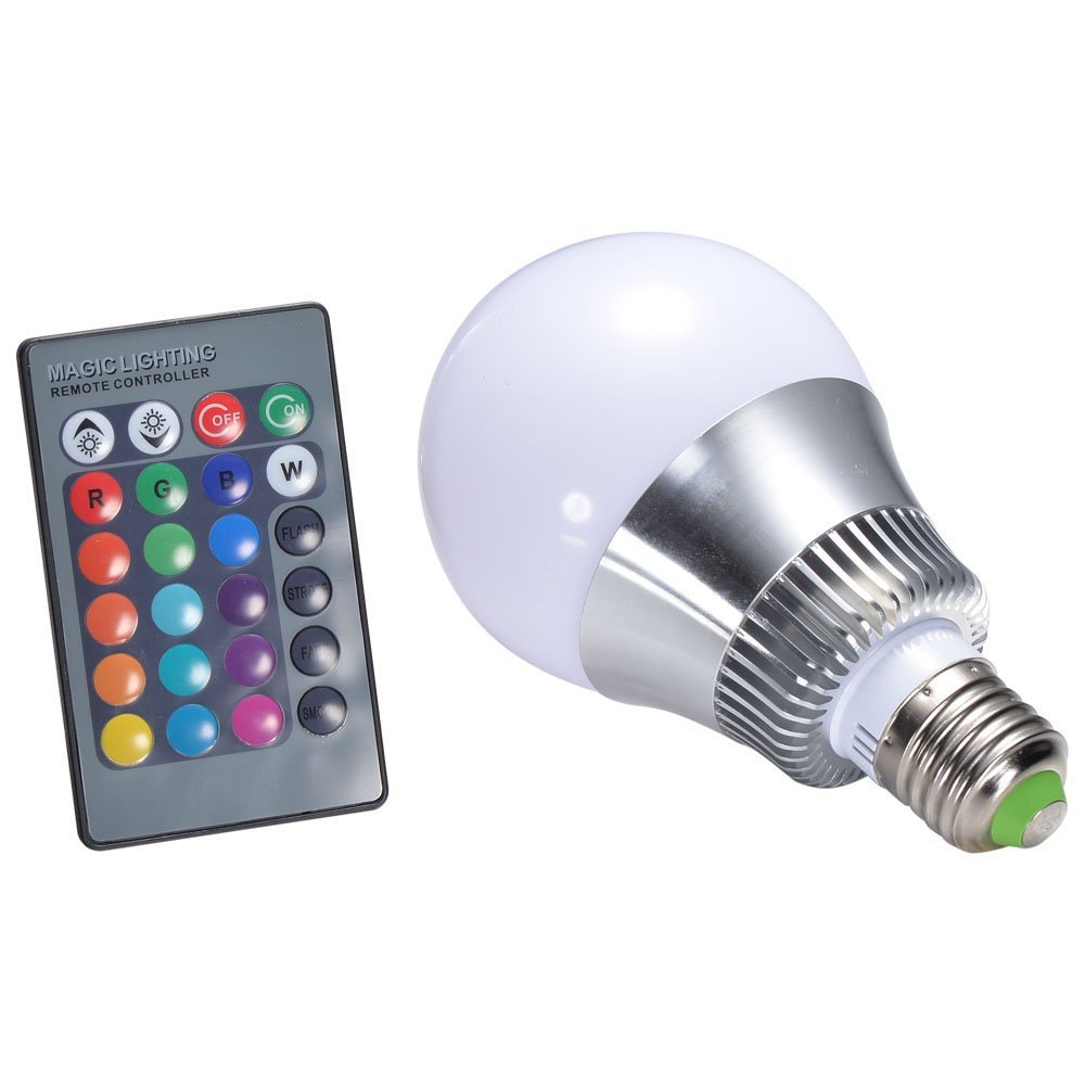 10W E27 RGB LED Light Bulb 24-key IR Remote Control LED Lamp Color Changing Aluminum 90-260V for Party Club Event Decoration