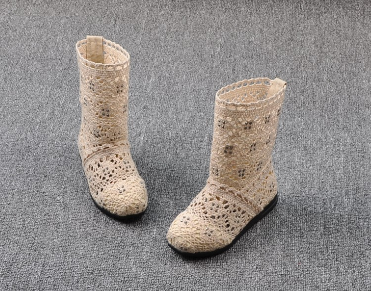 (A241)18 Classical Kids Shoes Summer Girls Boots Knitting Hollow Children Shoes Fashion Network Boots For Girls 7