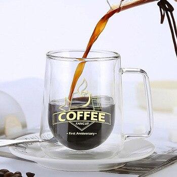 Nowy 200 mL/300 mL kubek z podwójną ścianką kubki biurowe izolacja cieplna podwójny kubek do kawy szklanka do kawy szklanka mleka prezenty dla przyjaciół