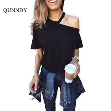 QUNNDY Womens Short Ruffles Sleeve Casual Shoulder Lightweight Tunic Tops Loose T Shirts Fashion Black Top