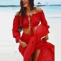 Mulheres Fora Do Ombro Chiffon Vestidos Mulheres Boho Vermelho Encabeça 2 Peças Sexy Summer Beach Vestido Longo Vestido longo # L