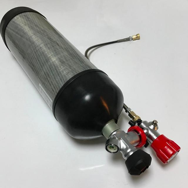 Acecare 6.8L 4500psi pcp carabine à air comprimé/gun gaz en fiber de carbone/HPA/Paintball cylindre/tank & valve et station de remplissage et protéger tasses en caoutchouc