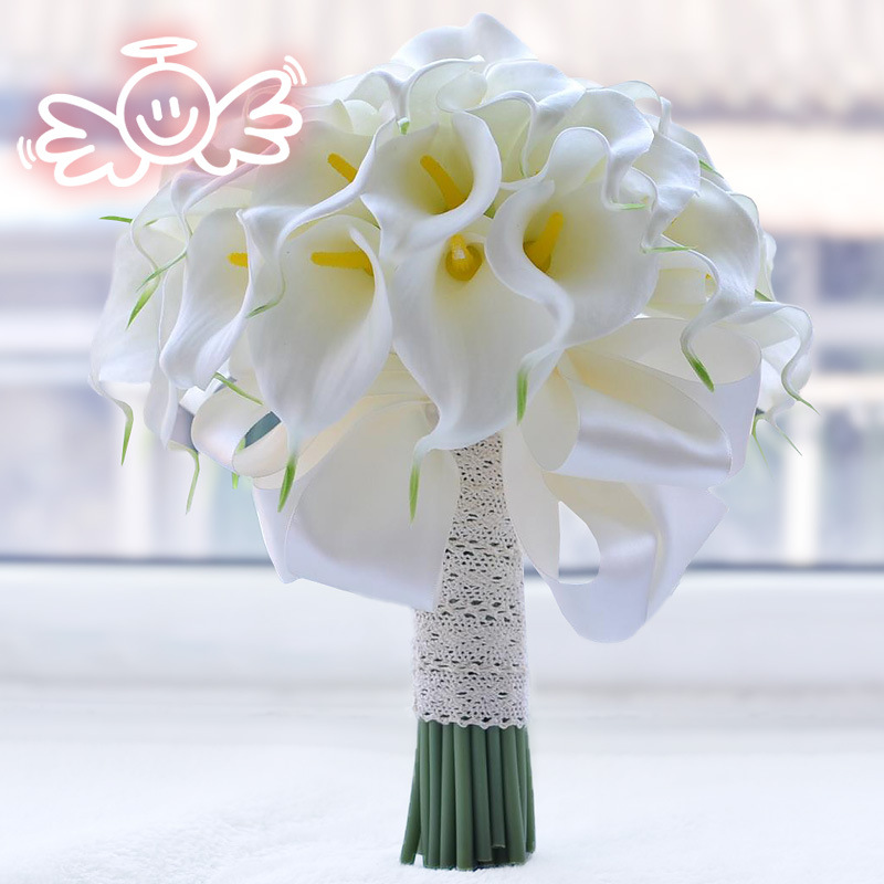 Yo Cho Wedding Bouquet Real Touch White Calla Lily Artificial