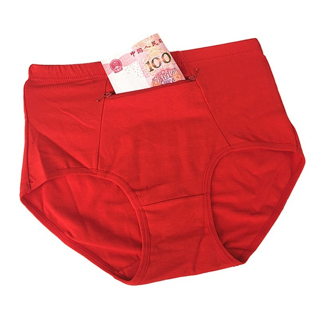d98e185f5f6d Women Big Size Underwear With Pocket 2017 Female Cotton Briefs Solid Zipper  Store Lingerie Novel Breathable