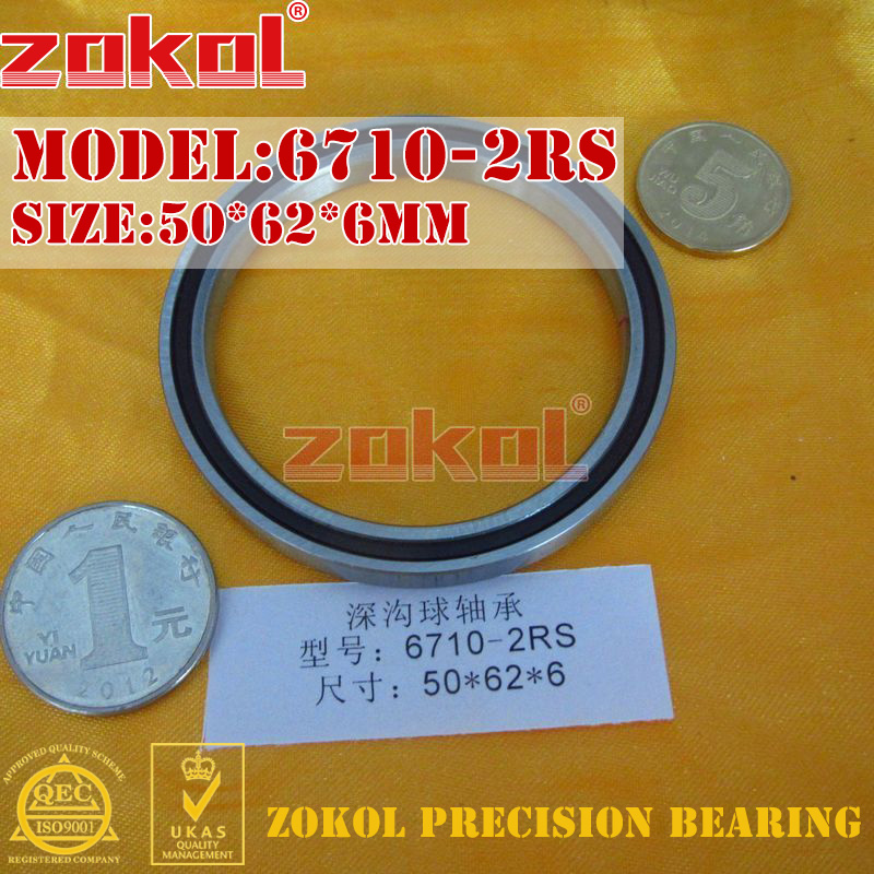 ZOKOL 6710 RS Bearing 6710 2RS 1000710 Deep Groove Ball Bearing 50*62*6mm