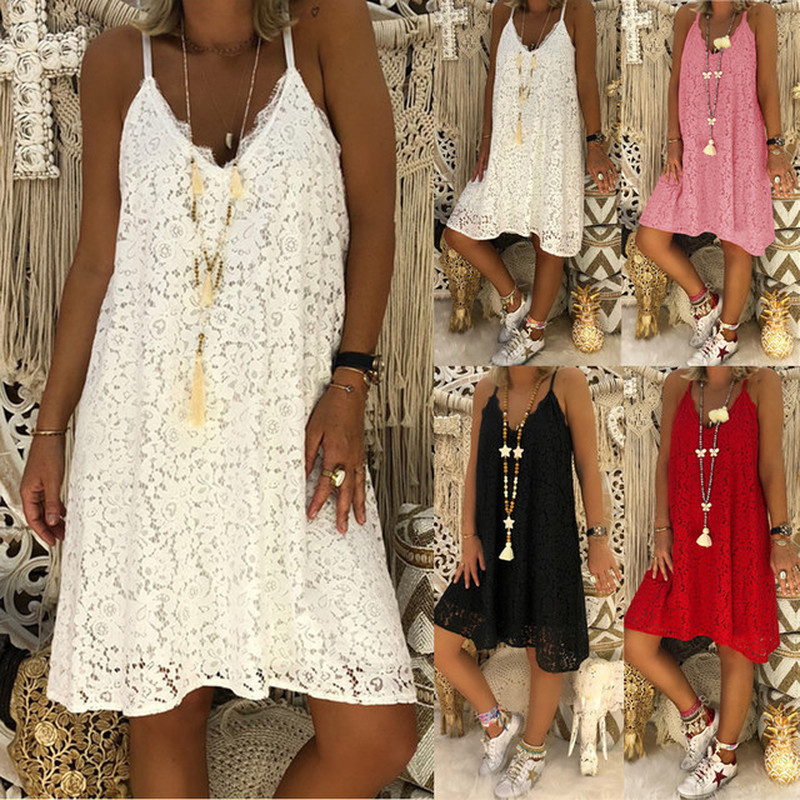 New Jeffree Star Sling Lace Loose Dress Women V Neck Sleeveless Solid Dresses Plus Size S-5XL Summer Clothes for