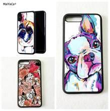 ffbcb4dde6e Boston terrier perro bulldog borde suave teléfono casos para iPhone 5S  iPhone 6 6 s más 7 7 plus 8 funda de calidad máxima 8 plu.