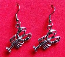 Hot Fashion Jewelry 50 Pair Vintage Ancient Silver Cute Lobster  Charm Pendants Drape Earrings DIY Free Shipping Q070