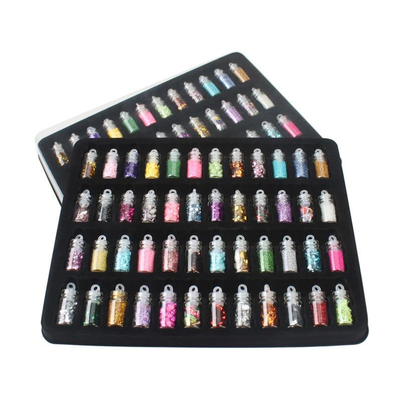 DIY 48 бутылок/лот Стразы украшения Стразы для ногтей комплект содержит случайный дизайн ногтей жемчуг блесток ногтей блестящая пудра из акри...