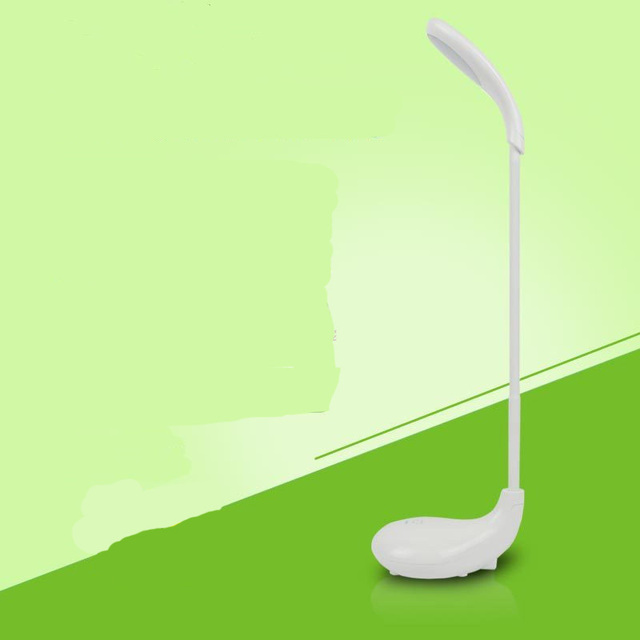 360 Degree Rotating Creative Rechargeable Eco-friendly Gooseneck Portable LED Desk Lamp Home Study Supplies White