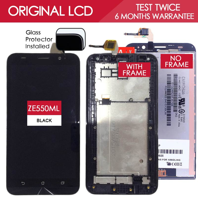 Original TESTED TFT IPS 1280x720 Display For ASUS Zenfone 2 ZE550ML LCD Touch Screen With Frame