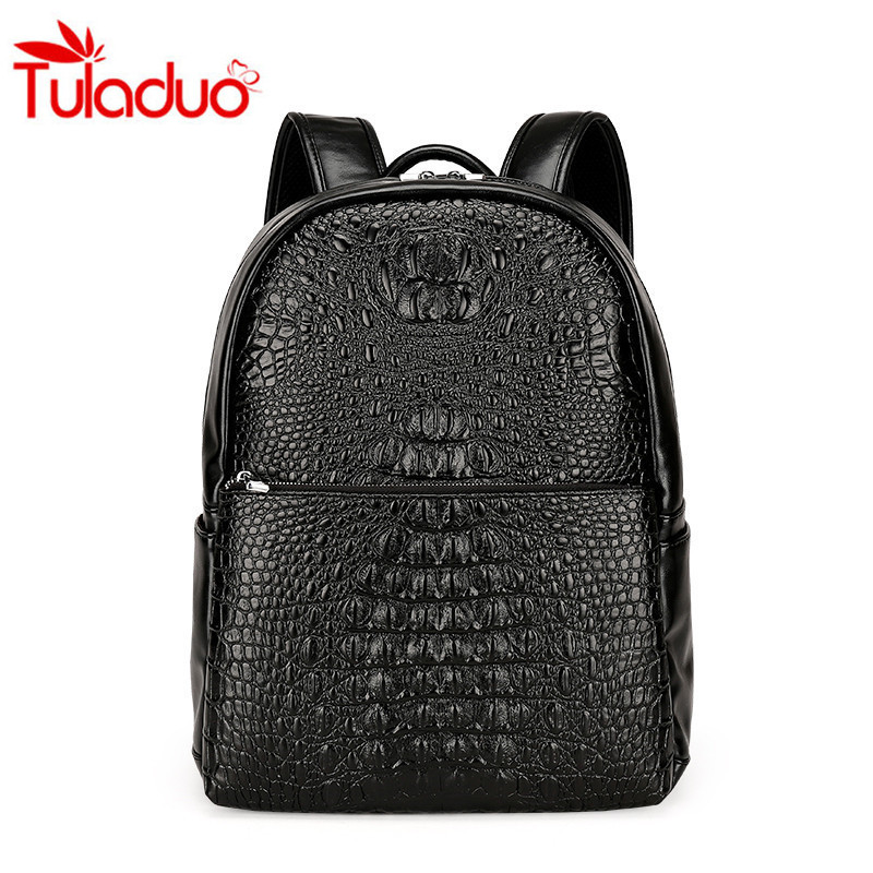 High Quality Unisex PU Leather Shoulder Bag Backpack Travel Bag Europe and America Style Crocodile Pattern Mochila Business Bags free shipping fashion new women backpack high quality pu leather girl shoulder bag crocodile pattern rivet travel mini backpack