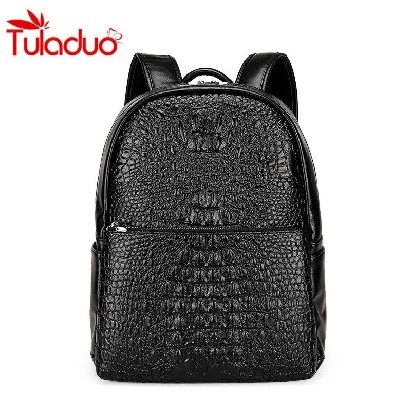 70c16da42986 High Quality Unisex PU Leather Shoulder Bag Backpack Travel Bag Europe and  America Style Crocodile Pattern