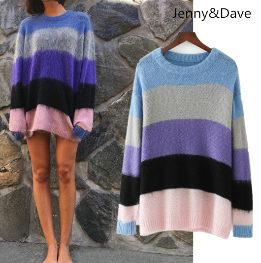 Jenny&Dave winter euramerican christmas sweater cardigan oodji Round collar Long sleeve striped loose-fitting womens sweater