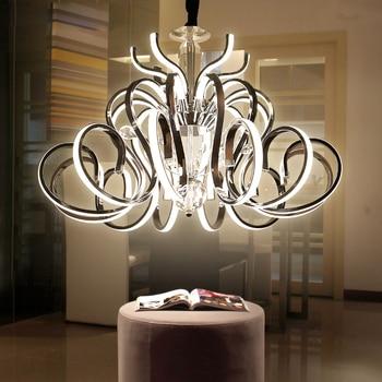 Lámpara Colgante única Curvada Galvanizada Cromada/Metal Dorado Para Sala De Estar Lámpara De Suspensión Led Lustre De Lujo