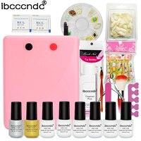 Nail prep kit manucure gel uv 36W UV Lamp+7ml uv Gel varnish Top Base Coat+short false nails+glitters for art nail polish set